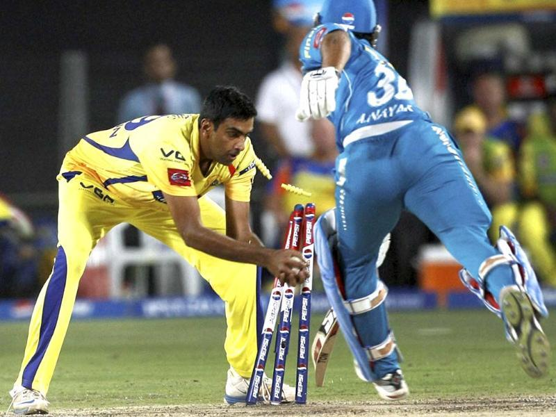Chennai Super Kings bowler Ravichandran Ashwin run out Abhishek Nayar during the T20 match against Pune Warriors in Pune. PTI Photo