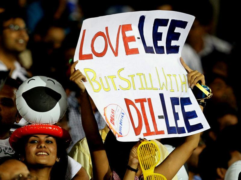 A Brett Lee fan makes her intensions clear during the Delhi Daredevils and Kolkata Knight Riders match in Raipur. PTI/Shirish