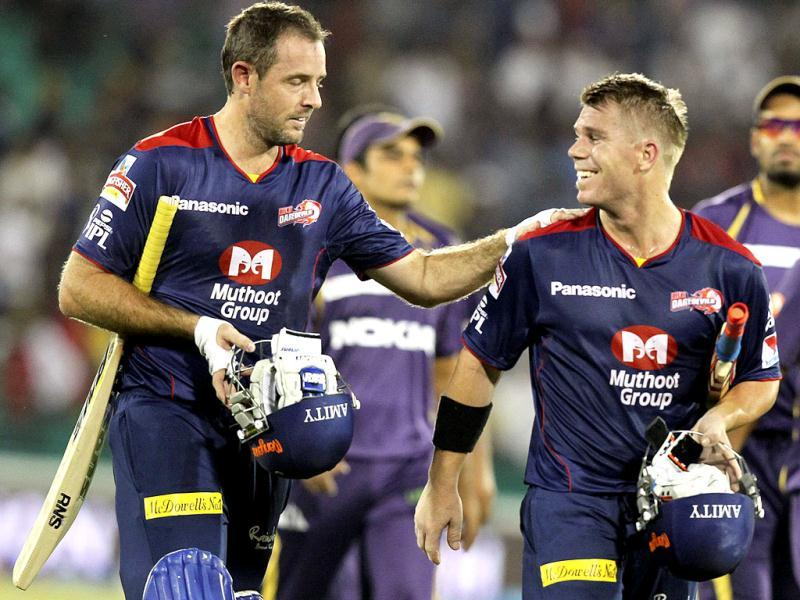 Delhi Daredevils cricketers celebrate after they beat Kolkota Knight Riders in T20 match in Raipur. PTI/Shirish Shete