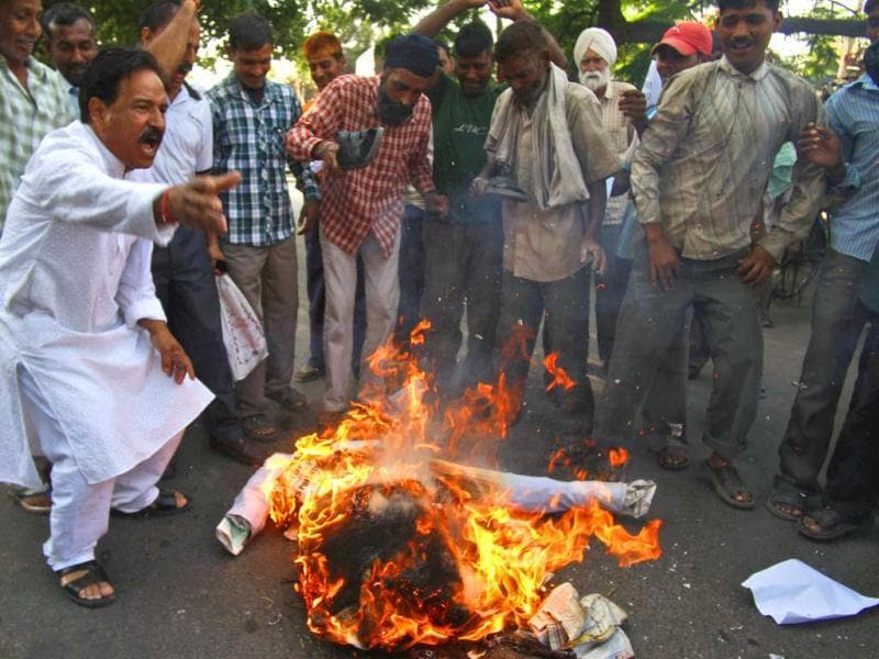 People shout slogans and burn an effigy representing Pakistan after Sarabjit Singh died in a Lahore jail in Jammu. (AP)