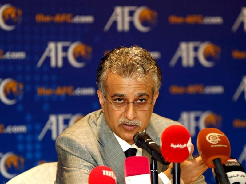 Newly elected president of Asian Football Confederation Sheikh Salman Bin Ibrahim Al Khalifa of Bahrain speaks during AFC conference at a hotel in Kuala Lumpur. Sheik Salman won a landslide victory to be elected president of the Asian Football Confederation on Thursday, replacing longtime rival Mohamed bin Hammam. Vincent Thian/AP