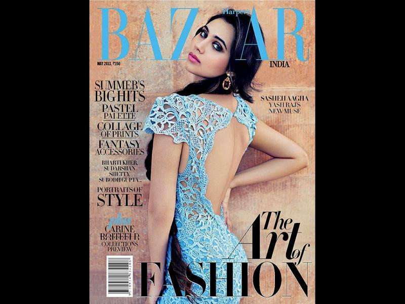 Sasha Agha, who is making her Bollywood debut with Aurangzeb opposite Arjun Kapoor, has graced the cover of Harper's Bazaar magazine, May 2013 issue (Photo courtesy: Harper's Bazaar).