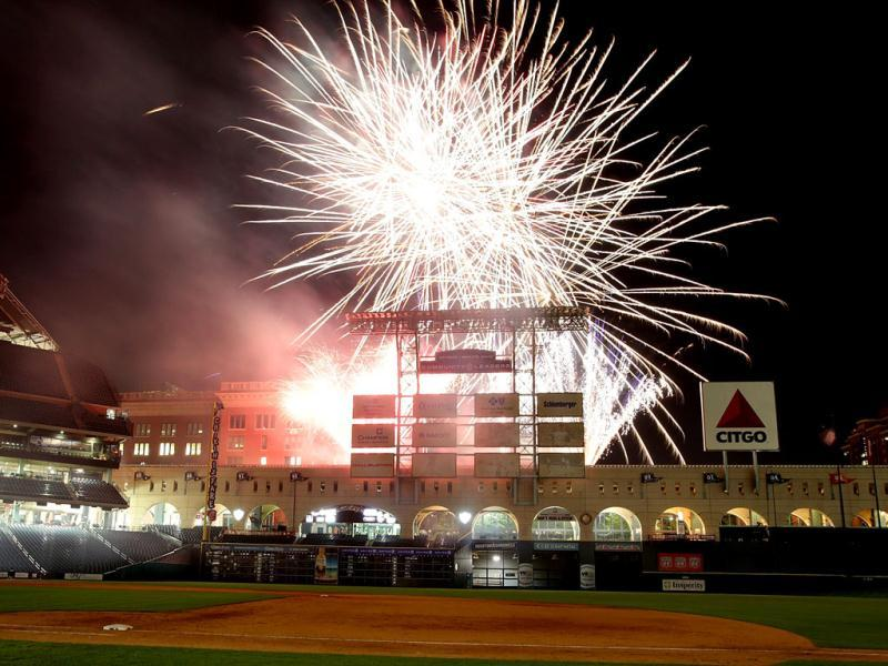 Friday Night Fireworks explode above Minute Maid Park in Houston, Texas. AFP photo