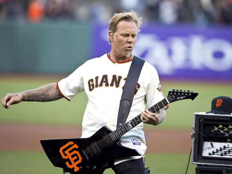 Recording artist James Hetfield of Metallica performs the national anthem before the game between the San Francisco Giants and the Los Angeles Dodgers in San Francisco, California. AFP