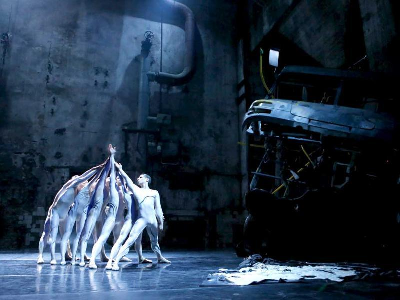 Dancers of the Staatsballett Berlin ensemble perform during a dress rehearsal of 'Boson' as part of the world premier of