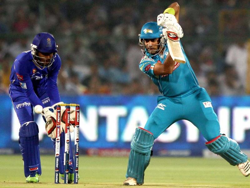Pune Warriors India's Robin Uthappa plays a shot against Rajasthan Royals during a T20 league match in Jaipur. (PTI)