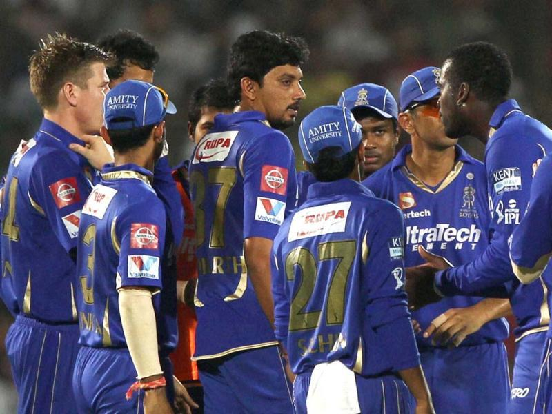 Rajasthan Royals players celebrate the wicket of Pune Warriors India A Finch during a T20 league match in Jaipur. (PTI)