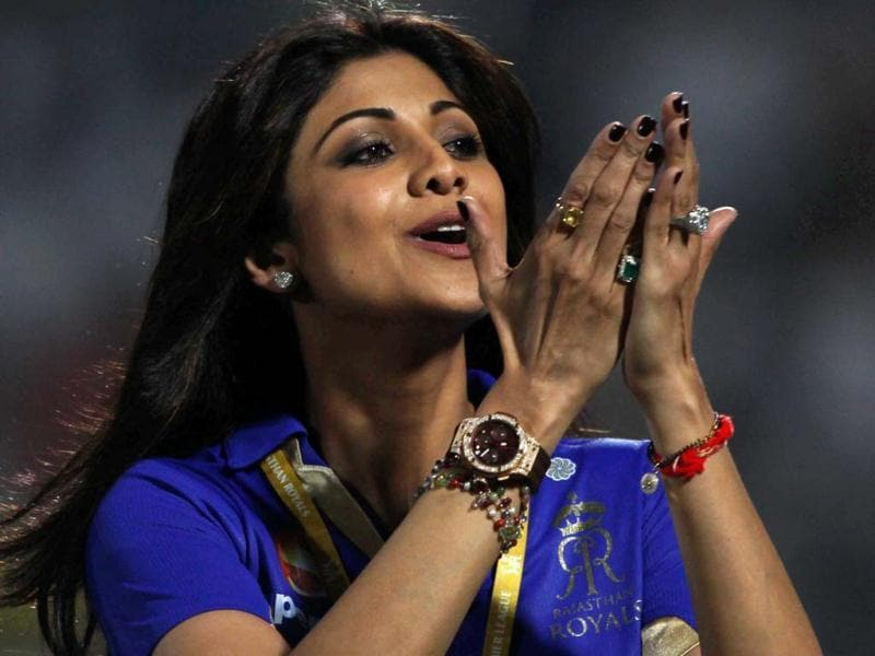 Rajasthan Royals' co-owner Shilpa Shetty celebrates her team's victory over Pune Warriors India during the T20 league match in Jaipur. (PTI)