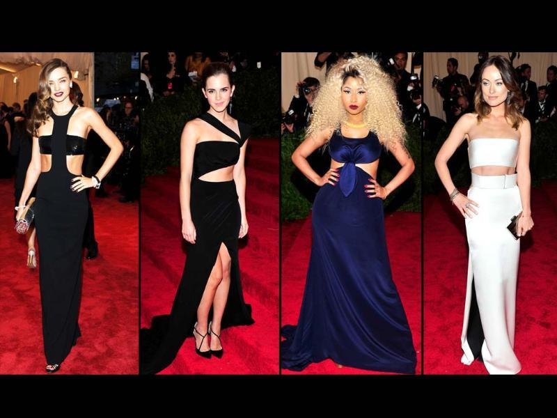Model Miranda Kerr, from left, actress Emma Watson, singer Nicki Minaj and actress Olivia Wilde attend the Metropolitan Museum of Art's Costume Institute benefit celebrating