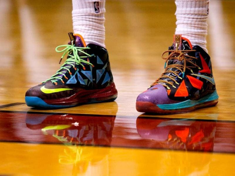 A shot of the sneakers being worn by LeBron James of the Miami Heat as he stands on the court against the Chicago Bulls during Game One in Miami, Florida. AFP