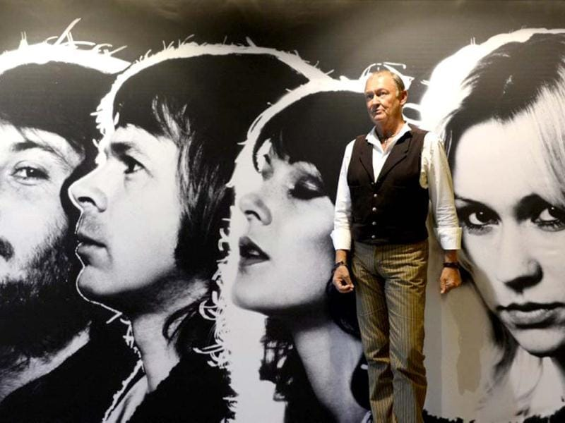 Owe Sandstom, designer of many of Swedish disco group ABBA's stage and video costumes, poses at the world's first permanent ABBA museum in Stockholm. (AFP Photo)