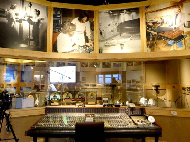 This picture shows part of the recording room at world's first permanent ABBA museum in Stockholm. (AFP Photo)