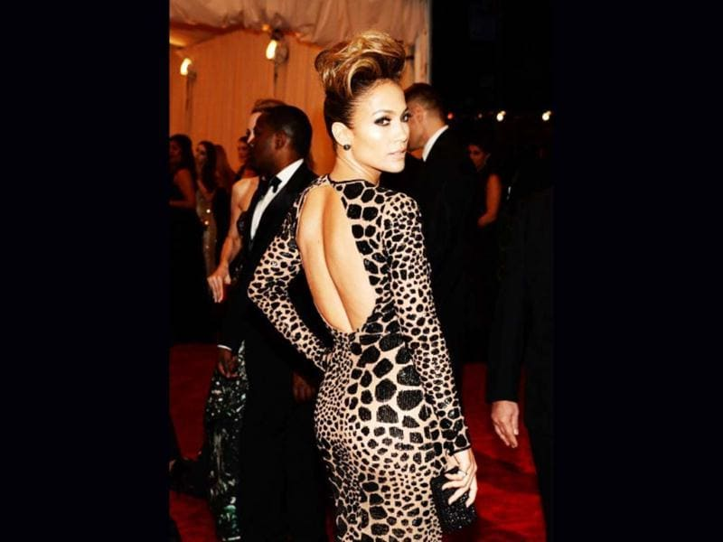 Singer Jennifer Lopez arrives at the Metropolitan Museum of Art Costume Institute Benefit celebrating the opening of PUNK: Chaos to Couture. (Getty Images)