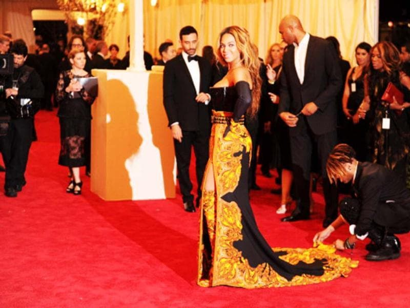 Singer Beyonce arrives at the Metropolitan Museum of Art Costume Institute Benefit celebrating the opening of PUNK: Chaos to Couture in New York, May 6, 2013. (Getty Images)