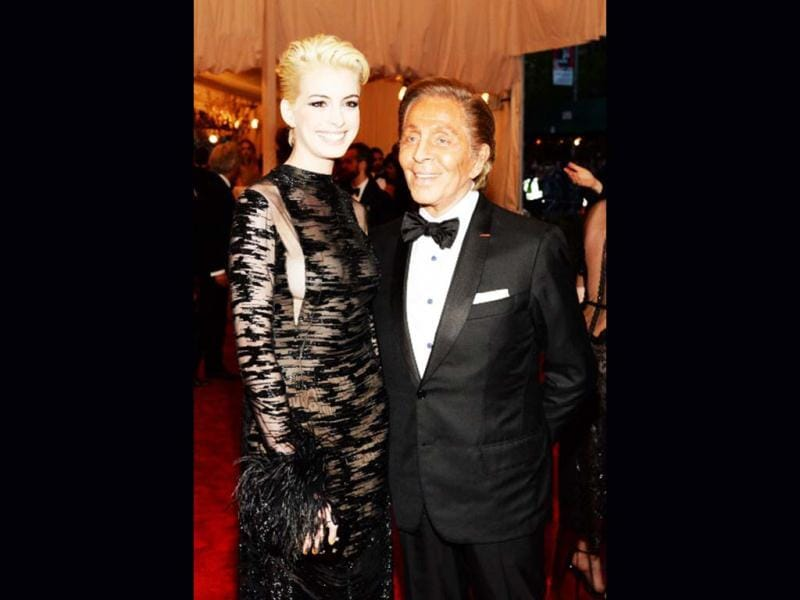 Actress Anne Hathaway and designer Valentino Garavani attends the Costume Institute Gala for the