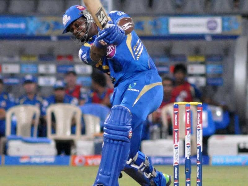 Dwayne Smith in action against KKR during T20 league match at Wankhede Satium in Mumbai. (UNI)