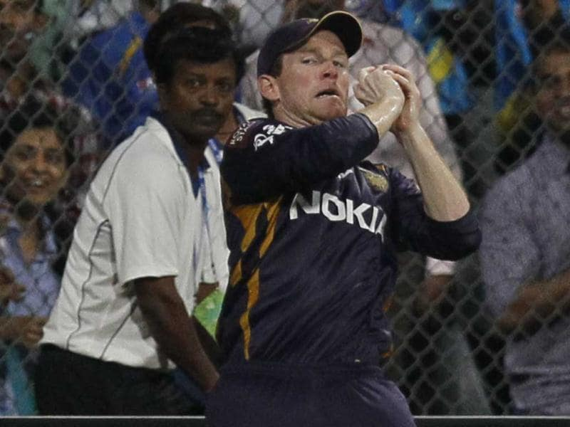 Kolkata Knight Riders' Eoin Morgan takes catch of Mumbai Indians' Rohit Sharma during the T20 match at Wankhede Stadium in Mumbai. (Kunal Patil/HT)