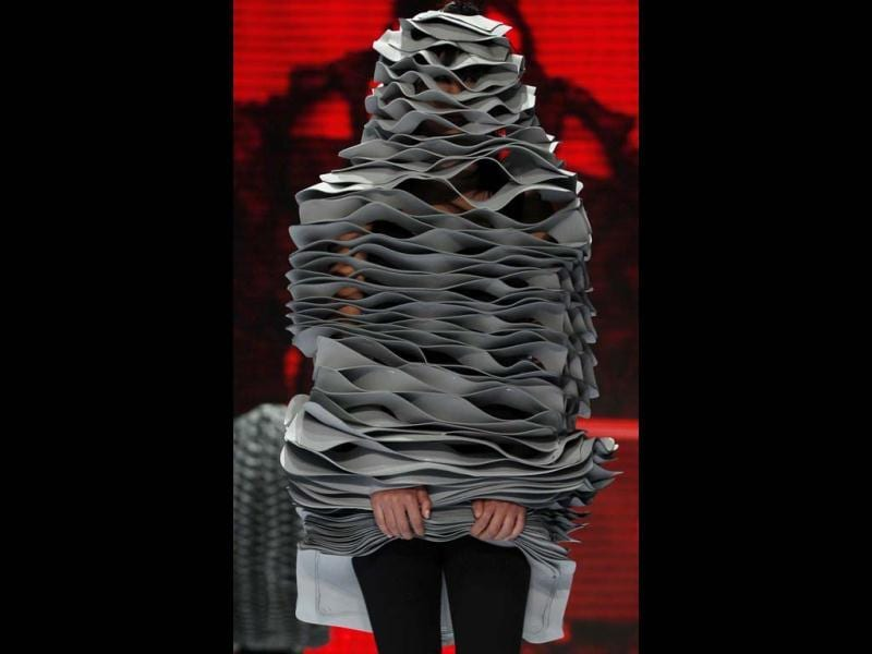 A model wears a creation by Colombia's designer Andres Martinez at the