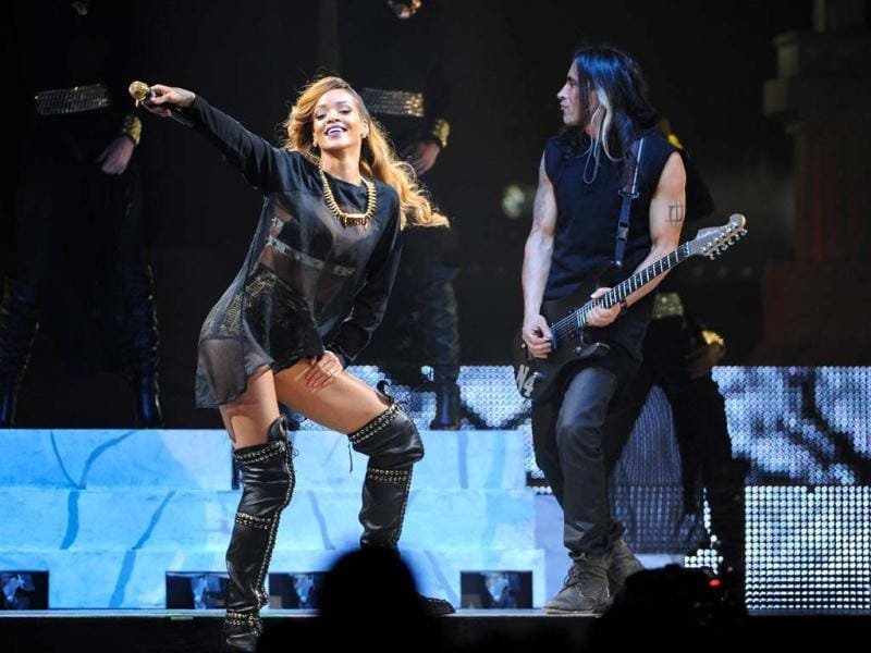 Singer Rihanna performs at the Barclays Center 2013 in New York. (AP)