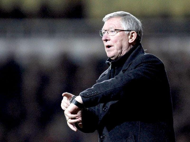 Alex Ferguson, Britain's longest-serving and most decorated soccer manager, will retire at the end of the season after more than 26 years and nearly 1,500 matches at the helm of Manchester United, he announced on May 8, 2013. In this picture, Ferguson gestures during the English FA Cup third round football match between West Ham United and Manchester United at the Boleyn Ground, in London on January 5, 2013. (AFP)