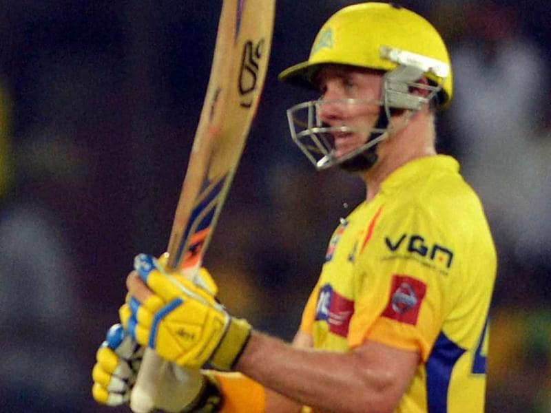 Chennai Super Kings batsman M Hussey celebrates his 50 runs during an T20 match against Sunrisers Hyderabad in Hyderabad. PTI