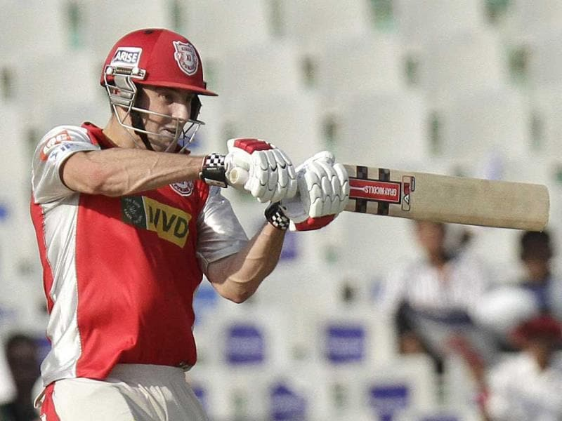 Kings XI Punjab player Shaun Marsh in action during a T20 cricket match between Rajasthan Royal and Kings XI Punjab at PCA Stadium, in Mohali. (Gurpreet Singh/HT)