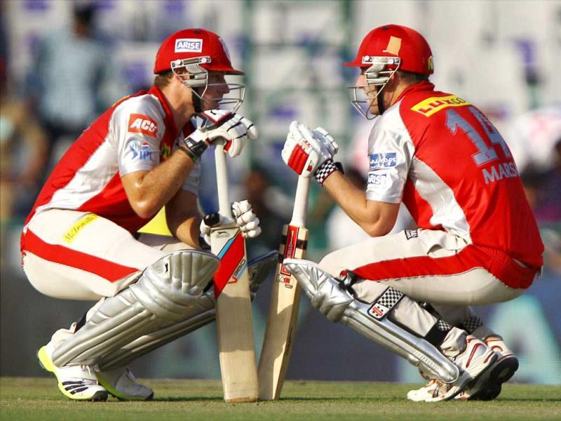Kings XI Punjab batsmen Shaun Marsh and David Miller during their T20 match against Rajasthan Royals in Mohali. (PTI)