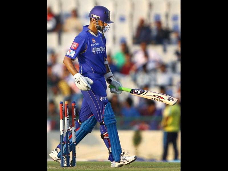 Rajasthan Royals batsman Rahul Dravid leaves after his dismissal during a T20 match against Kings XI Punjab in Mohali. (PTI)