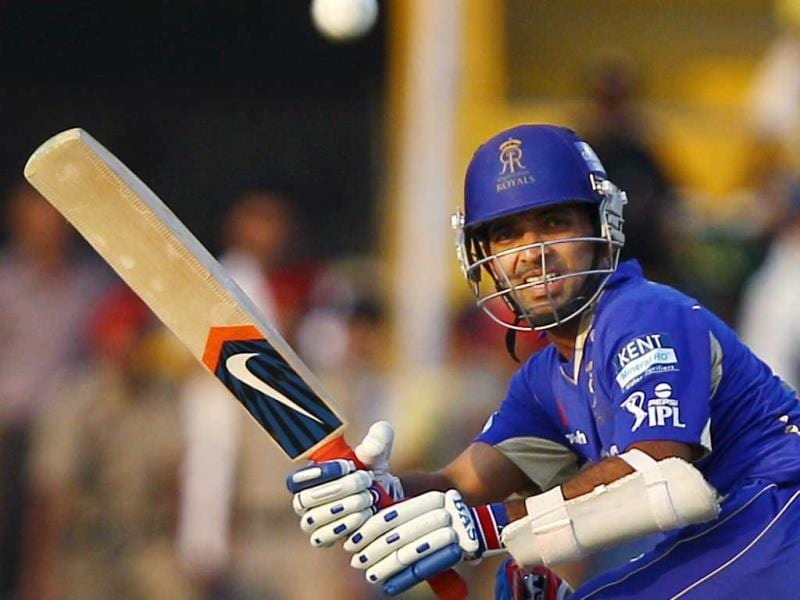 Rajasthan Royals batsman Ajinkya Rahane plays a shot during a T20 match against Kings XI Punjab in Mohali. (PTI)