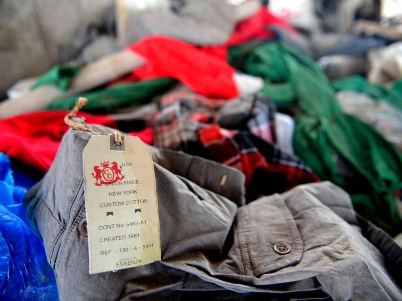 An item of clothing with a 'Joe Fresh' label lies in the rubble after an eight-storey building collapsed in Savar, on the outskirts of Dhaka. AFP photo