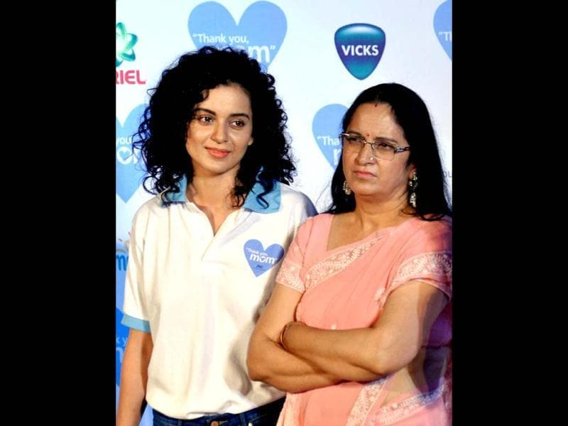 Like mother like daughter: Kangana Ranaut with her mom at a Mother's Day event. (AFP Photo)