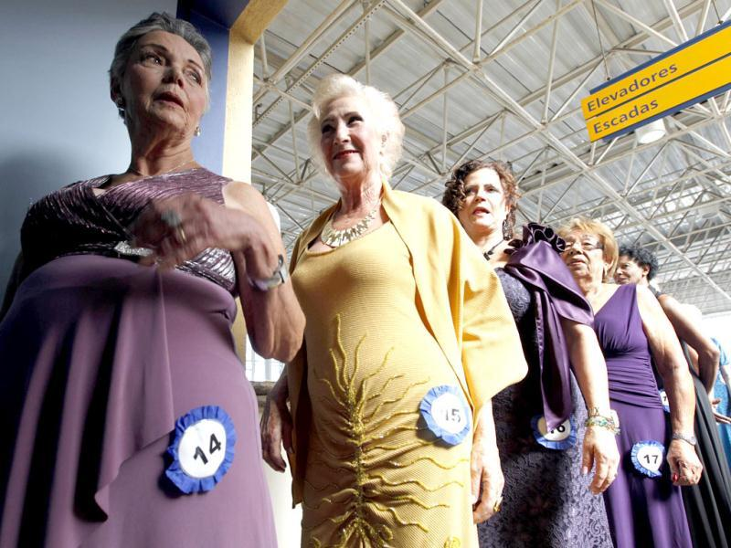 Competitors of the Sao Paulo's Elderly Women Beauty Contest line up before a parade in Sao Palo. REUTERS