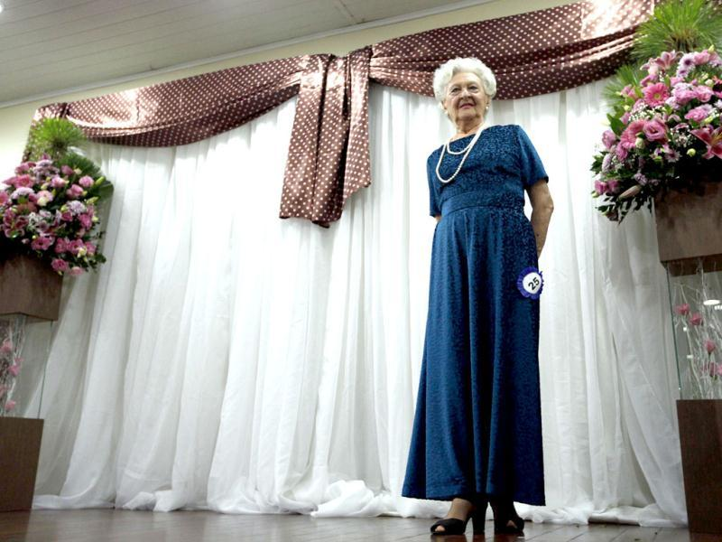 A competitor parades during the Sao Paulo's Elderly Beauty women contest in Sao Paulo. REUTERS