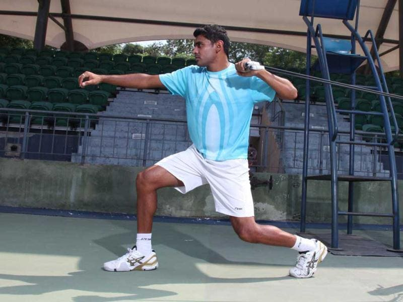 With Forehand pulls exercise both arms alternatively, and remember to gradually swivel your waist as you relax your arms. Make sure there are no sudden jerks. It can damage your spine. (Photo courtesy: Anil Chawla)