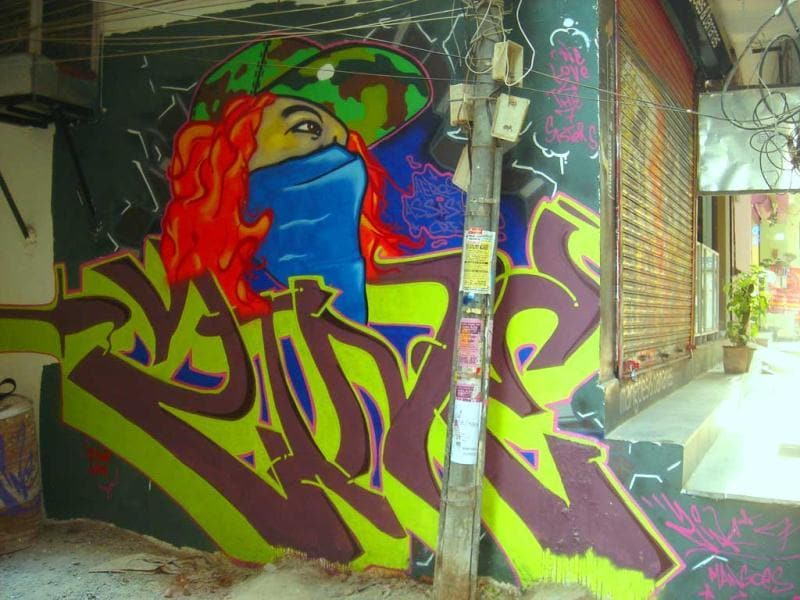 Graffiti at Humayunpur, Safdarjung Enclave by Zine. (Delhi)