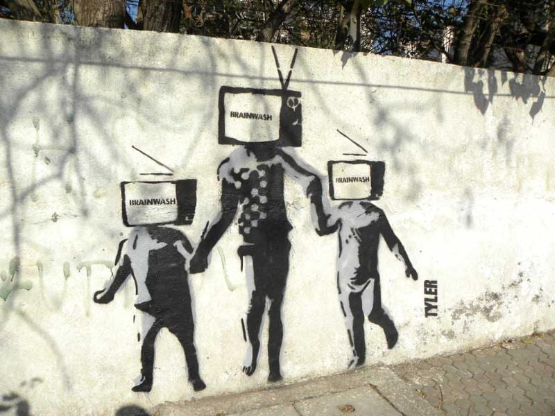 'Brainwash' street art by Tyler. (Mumbai)