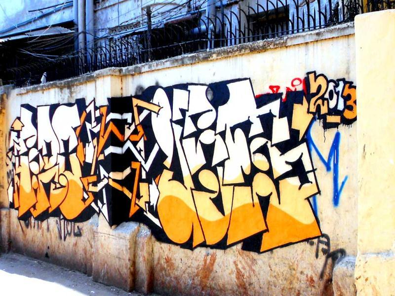 Graffiti and tagged by Justin (Jus) among others. (Kolkata)