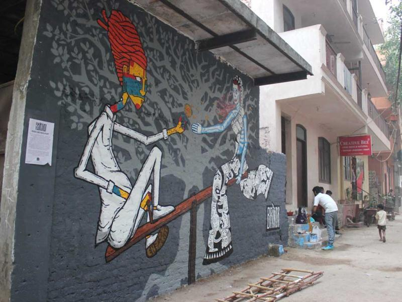Street art as part of the brinda Project, by Harsh Raman and Sergio Cordeiro. (Delhi)