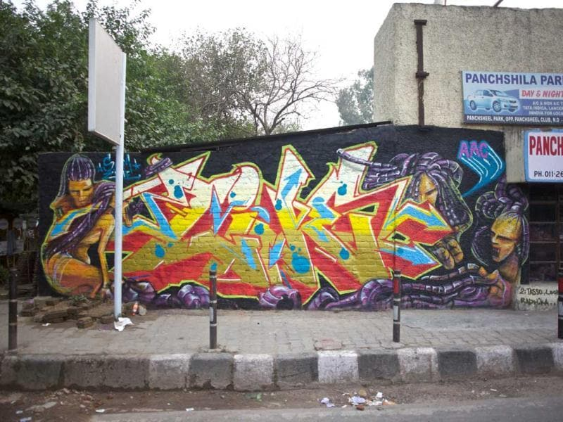 Graffiti at Pansheel Park Taxi Stand tagged - Zine X Sam Sam AAC. (Delhi)
