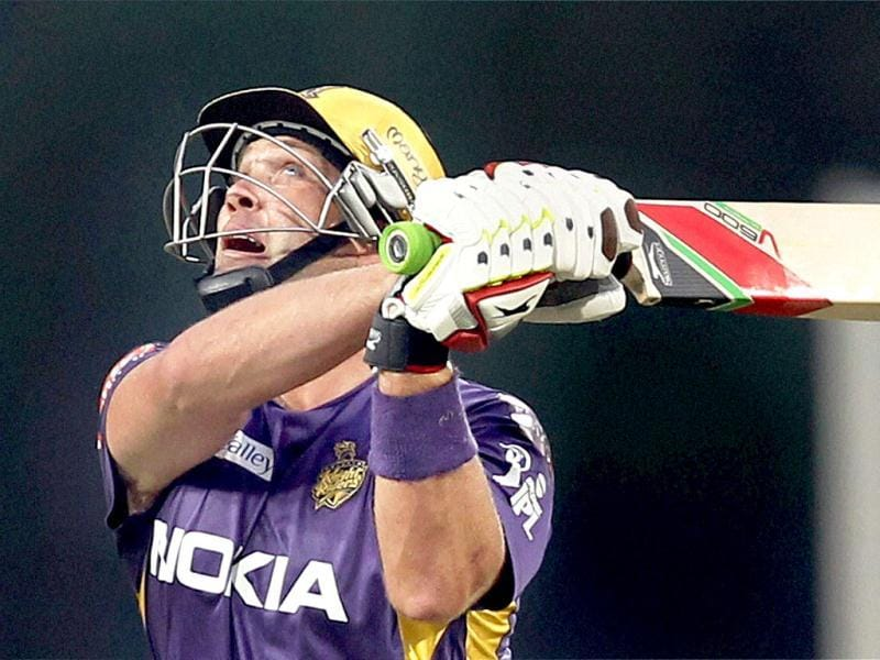Kolkata Knight Riders batsman J Kallis plays a shot during the T20 League match against Royal Challengers Banglore at JSCA International Stadium Complex, Ranchi. (PTI Photo)