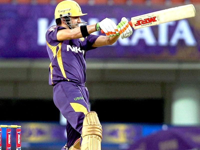 Kolkata Knight Riders captain Gautam Gambhir plays a shot during the T20 League match against Royal Challengers Banglore at JSCA International Stadium Complex, Ranchi. (PTI Photo)