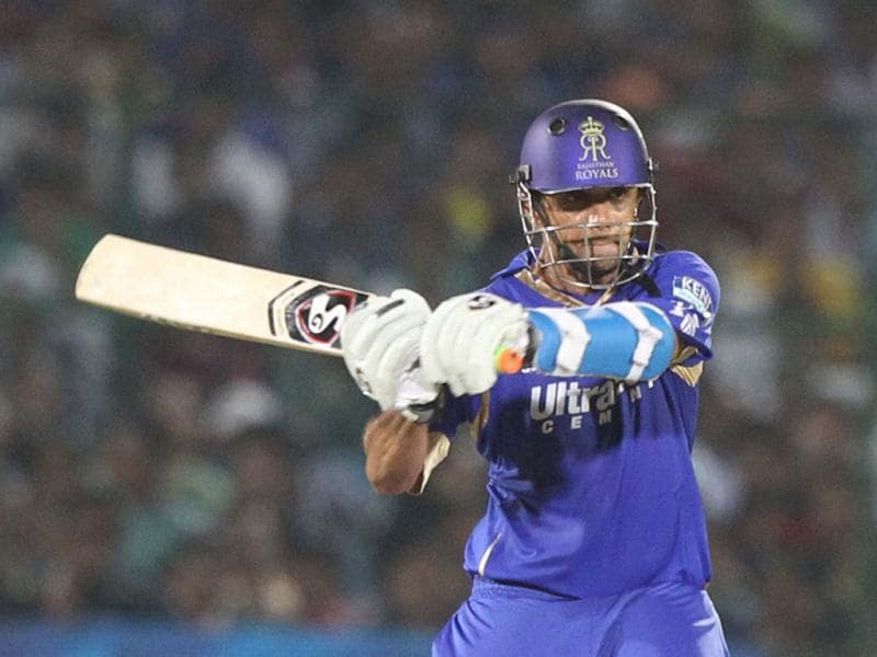 Rajasthan Royals batsman Rahul Dravid plays a shot against CSK during their T20 League match in Jaipur. (PTI Photo)