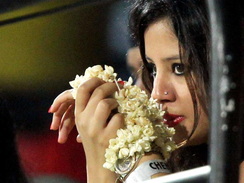 Chennai Super Kings skipper MS Dhoni's wife Sakshi during the T20 match between CSK and Delhi Daredevils at MA Chidambaram stadium in Chennai. (PTI)