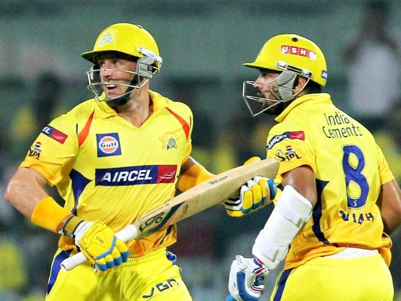 Chennai Super Kings' Mike Hussey and Murali Vijay take a run during the T20 match against Delhi Daredevils at MA Chidambaram Stadium in Chennai. (PTI)