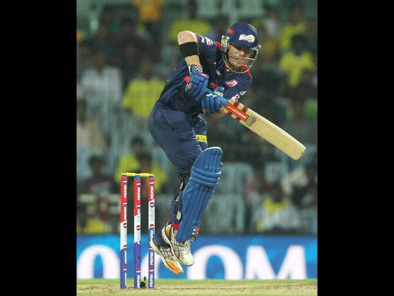 Delhi Daredevils' skipper David Warner in action during the T20 match against Chennai Super Kings at MA Chidambaram Stadium in Chennai. (PTI)