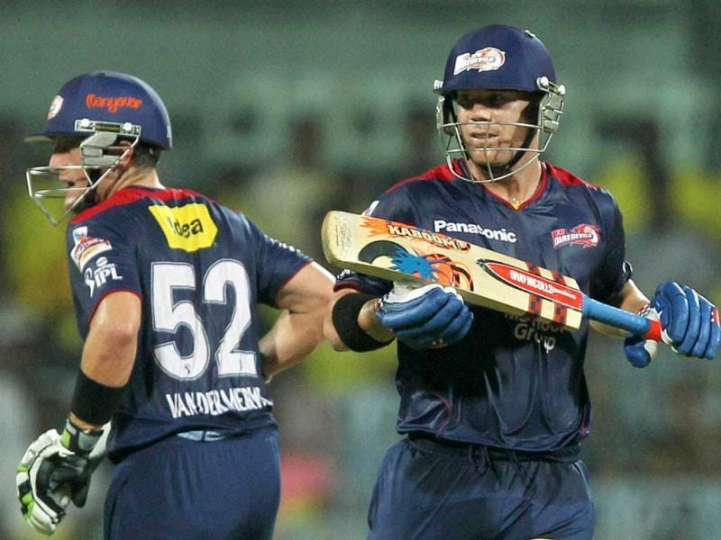 Delhi Daredevils' skipper David Warner and Roelof van der Merwe run during the T20 match against Chennai Super Kings at MA Chidambaram Stadium in Chennai. (PTI)