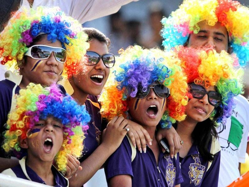 Supporters of Kolkata Knight Riders cheer during their T20 League match against Pune Warriors in Ranchi. (PTI Photo)
