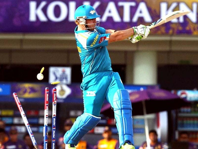 Pune Warriors cricketer Finch is castled by Kolkata Knight Riders' L Balaji during their T20 League match at JSCA Stadium in Ranchi. (PTI Photo)