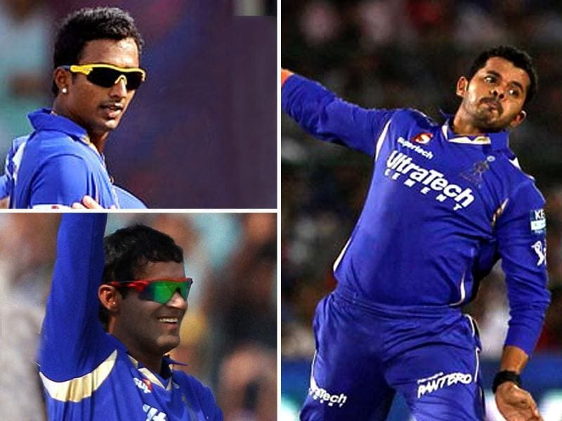 A combination picture showing three players of Rajasthan Royals (clockwise) Ankeet Chavan, S Sreesanth and Ajit Chandila.