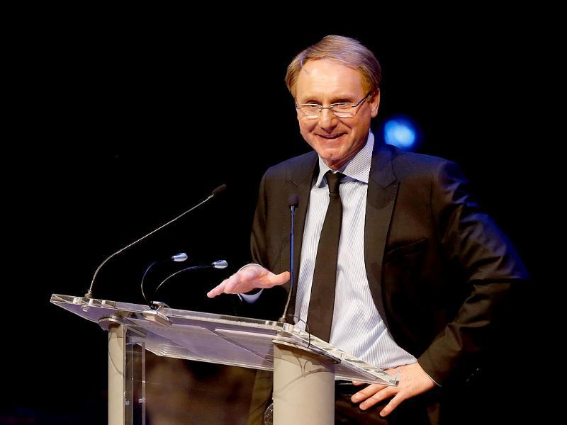 Author Dan Brown speaks during an An Evening with Dan Brown at Avery Fisher Hall in New York. AP Photo